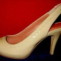 Classy Vince Camuto Patent Leather Sling Back Peep Toe Pumps Sz 8.5 Nude Color   Photo