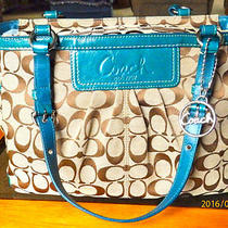 Clean Coach F14281 Signature Pleated Gallery Tote  Fob Holiday Winter Summer  Photo