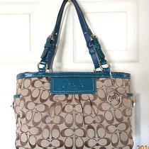 Clean Coach F14281 Signature Pleated Gallery Tote Holiday Winter Summer Sale Photo