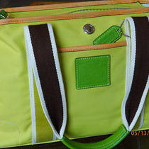 Clean Coach Hampton Ir5656 Signature Reversible Lime Tote Holiday Winter Summer  Photo