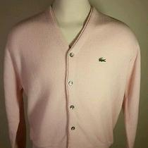 Clean Vintage Izod Lacoste Cardigan Sweater Pink Size Large Made in Usa 80's  Photo