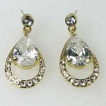 Clear Bridal Wedding Dangle Drop Earrings Goldtone Made With Swarovski Crystal Photo