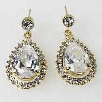 Clear Bridal Wedding Drop Dangle Earrings Goldtone Made With Swarovski Crystal Photo