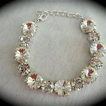 Clear Crystal Swarovski Rivoli Bracelet - Bridal Bridesmaid Photo