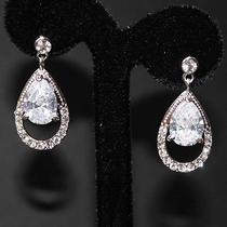 Clear Cz Bridal Wedding Chandelier Drop Earrings Made With Swarovski Crystal Photo