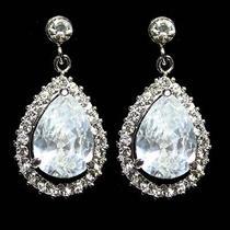 Clear Cz Bridal Wedding Drop Chandelier Earrings Made With Swarovski Crystal Photo