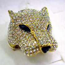 Clear Swarovski Crystal Golden Leopard Ring  Photo