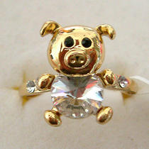 Clear Swarovski Crystal Golden Pig Ring B Photo