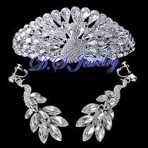 Clear Swarovski Crystal Rhinestones Peacock Tiara & Earrings Clip on Bridal Set Photo