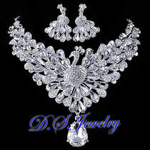 Clear Swarovski Crystal Rhinestones Peacock Tiara Necklace Earrings Bridal Set Photo