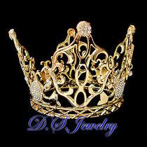Clear Swarovski Rhinestones 18kgp Gold Plated Princess Crown Photo