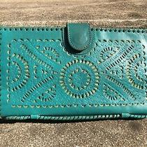 Cleobella Blue Green Leather Wallet Clutch Starburst Wallet Clutch Photo