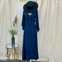 Cleobella Dark Blue 70s Style Lace-Up Midi Maxi Dress Xs Photo