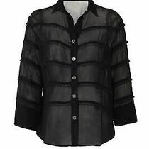 Cleobella Women's Blouse Black Size Xs Button Down Shirt Sheer 188- 672 Photo