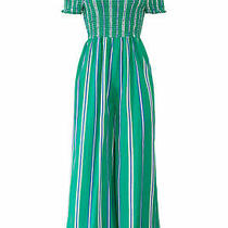 Cleobella Women's Jumpsuit Blue Green Size Medium M Smocked Striped 188- 861 Photo