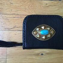 Cleobella Womens Purse Wallet- Black Leather With Turquoise Stone Gold - Nwt Photo