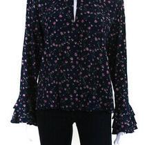 Cleobella Womens Floral Print Tie Neck Rachel Blouse Blue Size Small 11451220 Photo
