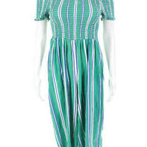 Cleobella Womens Striped Jumpsuit Jade Green Blue Cotton Size Medium 11301740 Photo