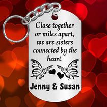 Close Together or Miles Apart  Sisters Keychain Gift With Names Personalized Photo