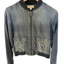 Cloth & Stone Anthropologie Chambray Denim Bomber Jacket Size Small Photo
