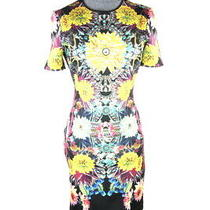 Clover Canyon Floral Print Black Yellow Short Sleeve Midi Fitted Dress M Photo