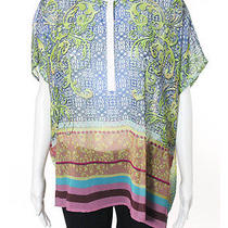 Clover Canyon Multi-Color Multi-Print Short Sleeve Sheer Buttoned Tunic Top Sz L Photo