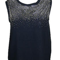 Clover Canyon Womens Navy Silver Beaded Stud Sleeveless Top S 298 New Photo