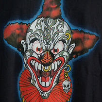 Clown Crazy Insane T Shirt Skull Earring Nose Ring Xl Dr. Luckys Dark Blue Photo