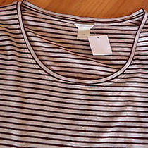 Club Monaco Aba Striped Top Sweater Top Large Light Heather Oatmeal Nwt 79.50 Photo