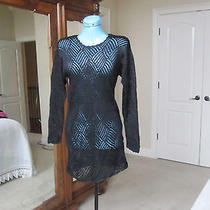 Club Monaco Black Knit Sweater Long See Through Size Sp Photo