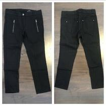 Club Monaco Black Zipper Moto Cotton Blend Skinny Pants Jeans Women's Size 00 Photo