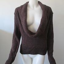 Club Monaco Brown Back Low Cowl Neck Lambs Wool Knitted Sweater L/g Photo