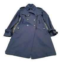 Club Monaco Classic Navy Trench Coat With Suede Collar Size Xs Photo