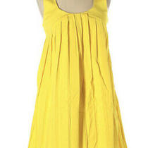 Club Monaco Dress 2 Yellow Pleated Sleeveless Empire Waist Racerback Cotton Xs  Photo