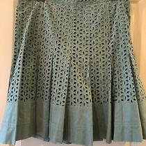 Club Monaco Flower Cut-Out Pleated Cotton Skirt 10 Photo