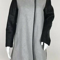 Club Monaco Funnel Neck Coat Gray Wool Black Leather Sleeves Womens S/p Photo