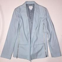 Club Monaco Light Baby Blue Open Front Blazer W. Zipper Details on Side Size 8 Photo