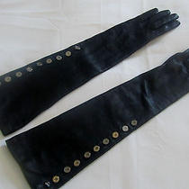 Club Monaco Long Elbow Length Leather Gloves Buttons Silk Lined Xs Sm Photo