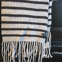 Club Monaco Nina Long Scarf Wool Modal Cashmere Stripes Brown Beige Fringe Nwt Photo