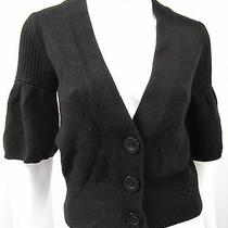 Club Monaco Short Sleeve Cardigan Sweater Size Xs Extra Small Solid Black  Photo