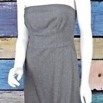 Club Monaco Size 4 Gray Wool Blend Strapless Sheath Bubble Hem Dress Career Work Photo