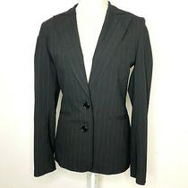 Club Monaco Size 6 Blazer Jacket Black Pinstripe Pockets Stretch Work Photo
