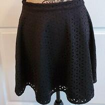 Club Monaco Women's Black Laser Cut Lined Flare Stretch Skirt Size 6 Photo
