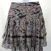 Club Monaco Women's Navy Blue White Red Print Drop Waist a-Line Silk Skirt Sz 2 Photo