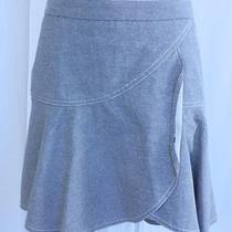 Club Monaco Women's White Blue Cotton Twill a-Line Skirt Sz 2 Photo