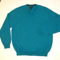 Club Room Merino Wool Vneck Golf Sweater L  Aqua New Nwt  Mens Long Sleeve Photo