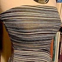 Cmh Black White Stripe Strapless Flirty Skirt Casual Dress Sz Xs Xsmall Pd157 Photo