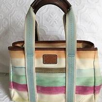 Coach 10025 Hampton Shoulder Bag Purse Satchel Tote Watercolor Stripe Canvasmed Photo