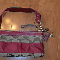 Coach 10120 Khaki Tan Cranberry Wine Stripe Signature Clutch Purse Demi Pouch Photo