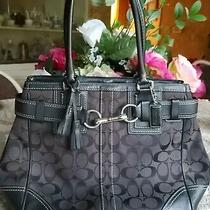 Coach 10247 Hampton Large Black Jacquard Leather Trim Tote Handbag Purse 'As Is' Photo